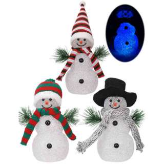 SNOWMAN WITH LED LIGHTS CHANGING COLOUR EFFECT 3XAG13 BATTERY