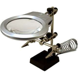 HELPING HAND W/MAGNIFIER LED LIGHT AND SOLDERING STAND