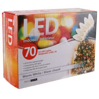 LED STRING LIGHT DECORATIVE WARM WHITE 23FT INDOOR 70 C6 LEDS