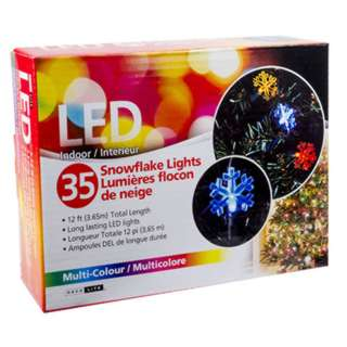 LED SNOWFLAKE LIGHT 12FT MULTI-COLOR INDOOR 35 LED LIGHTS