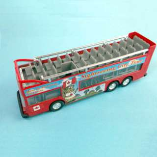 BUS SIGHTSEEING DIE CAST 6INCH PULL BACK ACTION
