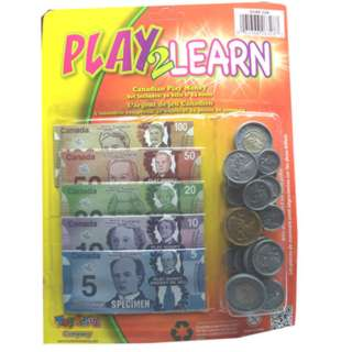 CANADIAN PLAY MONEY BILLS AND COINS SET