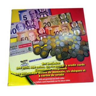 CANADIAN PLAY MONEY BILLS COINS CHEQUES AND CREDIT CARDS SET