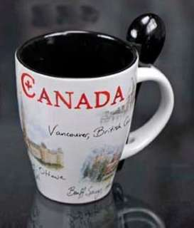CANADA SOUVENIR MUG W/SPOON COLORED PRINT