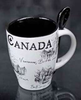 CANADA SOUVENIR MUG W/SPOON BLACK/WHITE