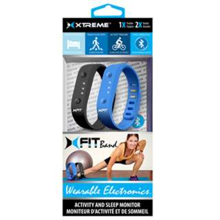 XFIT FITNESS BAND ACTIVITY AND SLEEP MONITOR BLK & BLU 2PCS/SET