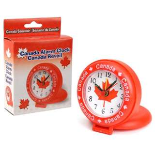 CANADA SOUVENIR ALARM CLOCK 3INCH DIA REQUIRES 1XAA BATTERY