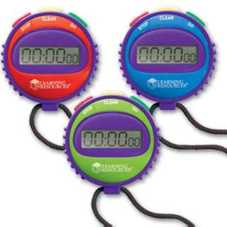 STOPWATCH LARGE DISPLAY ASSORTED COLOR 3 FUNCTIONS W/LR44 BATTERY