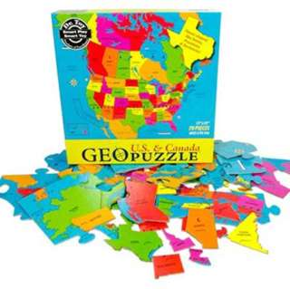 GEO PUZZLE-USA & CANADA 69 PIECES