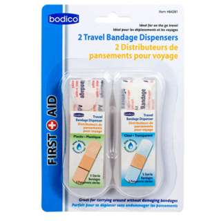 TRAVEL BANDAGE DISPENSERS 5 BANDAGES OF CLEAR & PLASTIC