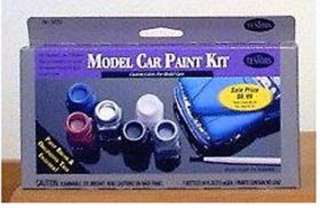 MODEL CAR PAINT SET 6 ENAMEL PAINTS THINNER AND PAINT BRUSH