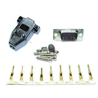 DB9M CRIMP W/METALLIZED HOOD AND PINS