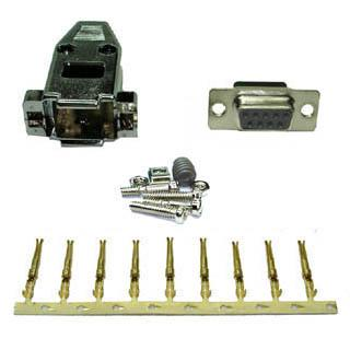 DB9F CRIMP W/METALLIZED HOOD AND PINS