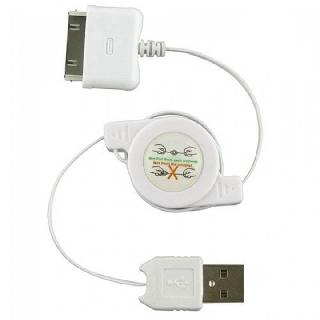 USB CABLE A MALE TO 30P 2.5FT WHT RETRACTABLE IPHONE