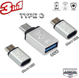 USB ADAPTER C MALE TO A FEM KIT WITH USB C MALE TO MICRO FEM OTG
