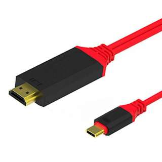 USB CABLE C MALE TO HDMI MALE 6F RED RESOLUTION UPTO 4KX2K@30HZ