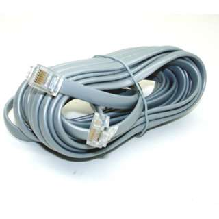 MODULAR CABLE 6P6C M/M 25FT SILVER