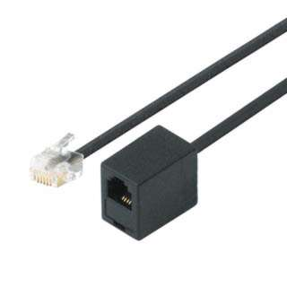 MODULAR CABLE 6P4C M/F 50FT BLACK