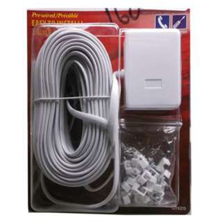 MODULAR CABLE 6P4C M/2F 50FT WHITE WITH CABLE CLAMP