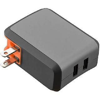 USB WALL CHARGER DUAL 5VDC@2.4A RAPID CHARGE IP:120VAC