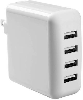 USB WALL CHARGER 4PORT 5VDC 3A ASSORTED BLACK & WHITE