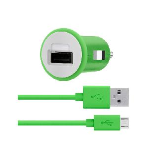 USB CAR CHARGER W/MICRO USB 4FT GREEN CABLE 2.1A
