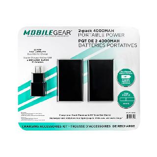 <strong>1063585</strong><br>POWER BANK 4000MAH W/2USB CABLE 1 DUAL USB AC CHARGER