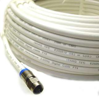 VIDEO CABLE RG6U F M/M 75FT WHT 