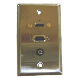 <strong>75-642</strong><br>WALL PLATE HDMI VGA AUDIO METAL DB15HD FEM & 3.5MM STEREO CONN