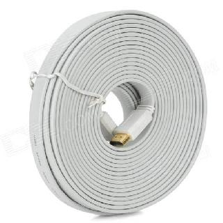 HDMI CABLE MALE-FEM 15FT WHITE FLAT