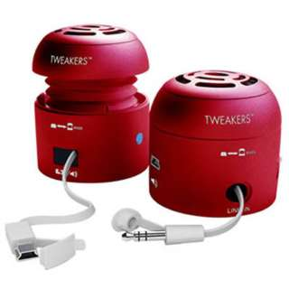 SPEAKER PORTABLE TWEAKERS LAPTOP MP3 PLAYERS W/USB CHARGER RED