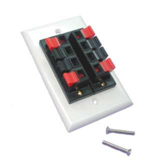 WALL PLATE SPEAKER PUSH TYPE 2X4 POS RED/BLK TERMINAL WHT PLATE