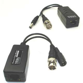 BNC PLUG TO RJ45 BALUN FOR CCTV WITH DC POWER PLUG/JACK 