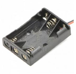 BATTERY HOLDER AAAX3 PLAS BLK WITH WIRE