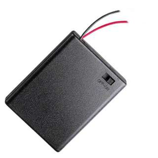 BATTERY HOLDER AAAX4 WITH SWITCH WIRE 15CM AND PLASTIC COVER BLK