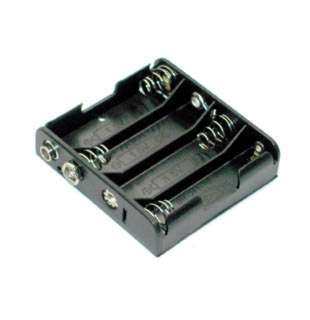 BATTERY HOLDER AAX4 PLASTIC BLK WITH SNAP CONN