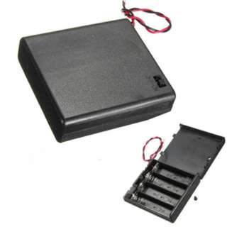 BATTERY HOLDER AAX4 WITH SWITCH WIRE 15CM AND PLASTIC COVER BLK