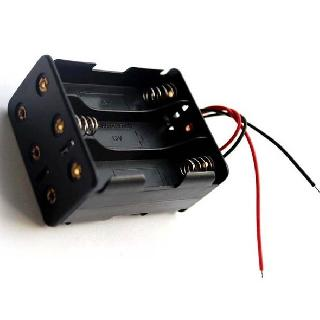 BATTERY HOLDER AAX6 PLASTIC BLK W/ WIRE