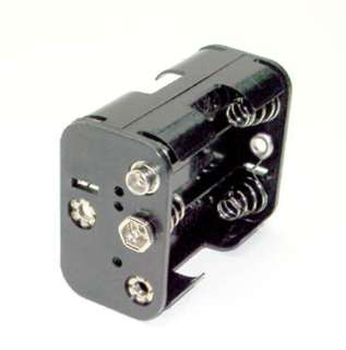 BATTERY HOLDER AAX6 PLASTIC BLK WITH SNAP CONN