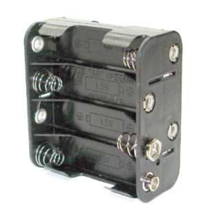 BATTERY HOLDER AAX8 PLASTIC BLK WITH SNAP CONN