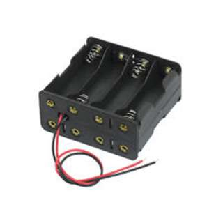 BATTERY HOLDER AAX8 PLASTIC BLK WITH WIRE