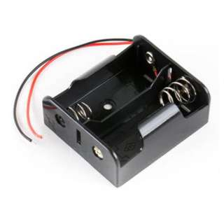 BATTERY HOLDER CX2 PLASTIC BLK WITH WIRES