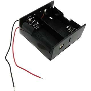 BATTERY HOLDER DX2 PLASTIC BLK WITH WIRES