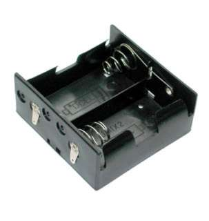 BATTERY HOLDER DX2 PLASTIC BLK WITH SOLDER LUG CONN