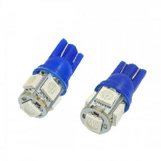 LED BULB WEDGE 12V BLUE 5LED 5050 REPLACES 194 & 168