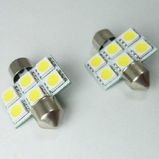 LED BULB FESTOON 12V WHT 6LED 5050