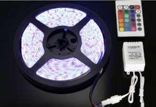 LED FLEXIBLE STRIP RED/GRN/BLUE 5MT 12V IP65 6-7 LUMENS PER LED