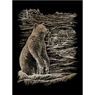 COPPER ENGRAVING GRIZZLY BEARS 
