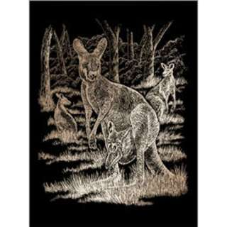 COPPER ENGRAVING KANGAROO & BABY 