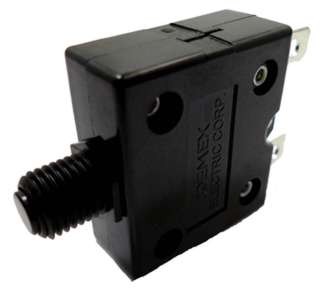CIRCUIT BREAKER 10A 250VAC PUSH CHMT 1P 9.5MM DIA QT 6.3MM